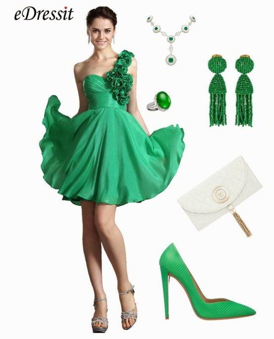 green prom dress with accessories