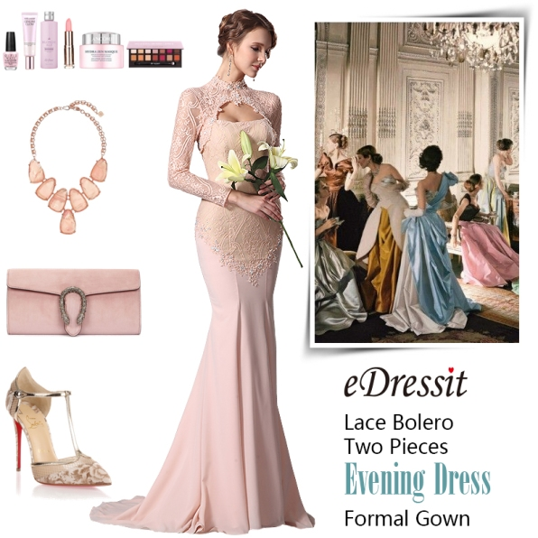 long mermaid pink evening dress