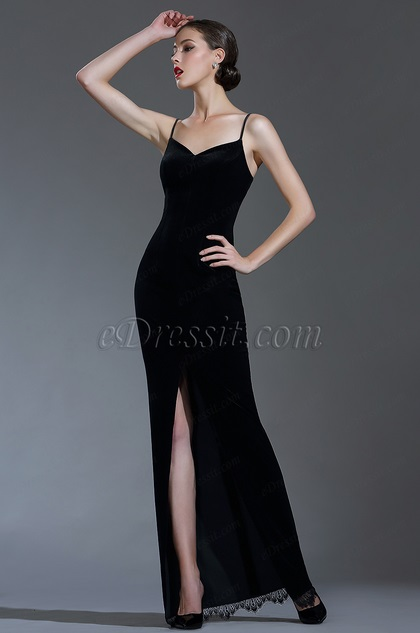Sexy Velvet Spaghetti Black Tie Evening Dress