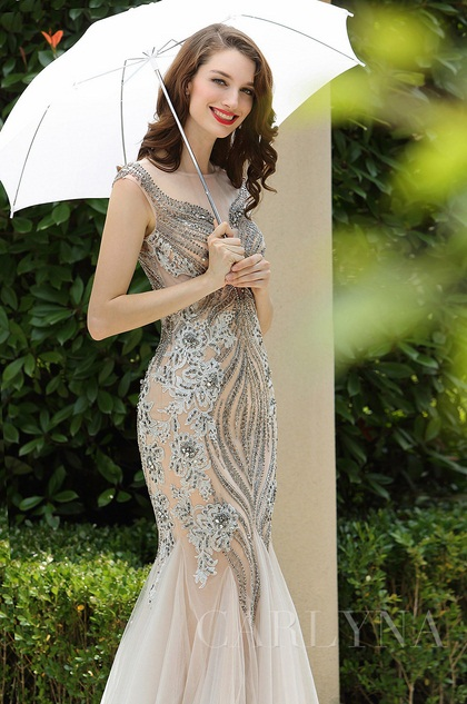 grey mermaid prom formal dress