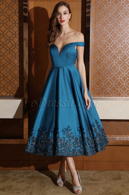 eDressit Designer Blue Off Shoulder Party Dress