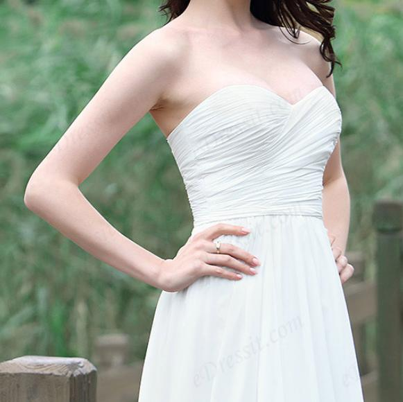 White Strapless Sweetheart Wedding Dress