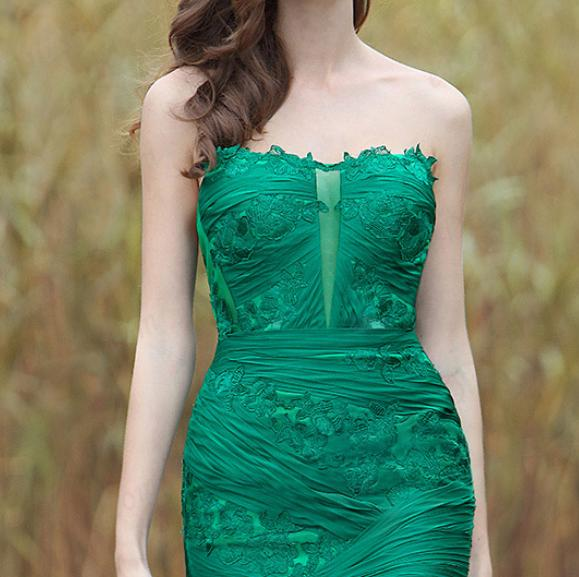 Sexy Green Strapless Floral Dress with High Slit