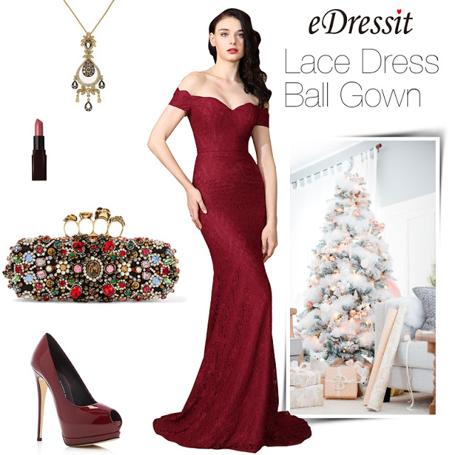 eDressit Off Shoulder Sexy Burgundy Lace Dress Ball Gown
