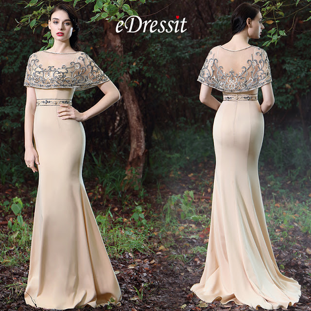 eDressit Beige Cape Embroidery Beaded Evening Gown