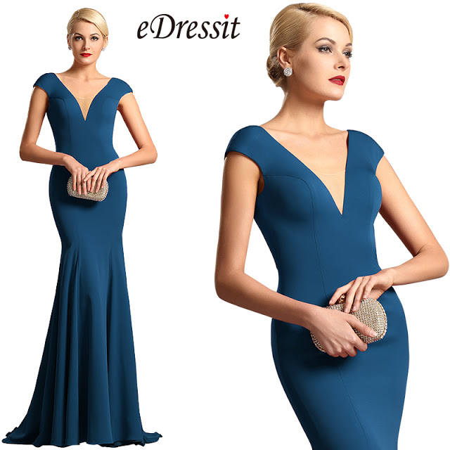 capped sleeves plunging neckline blue formal dress