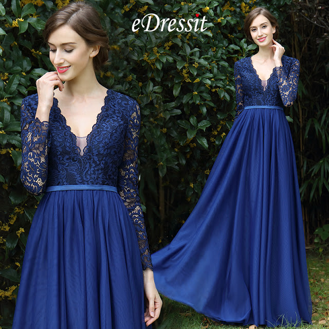 long sleeves blue plunging v neck prom dress