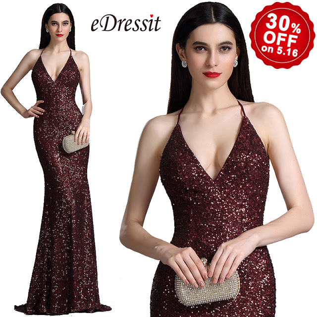spaghetti halter v neck burgundy sequins prom dress