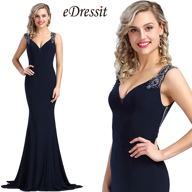 navy blue beaded prom mermaid dress