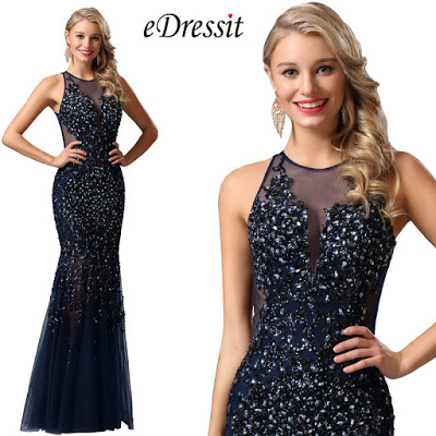 sleeveless navy blue heavy beaded formal gown