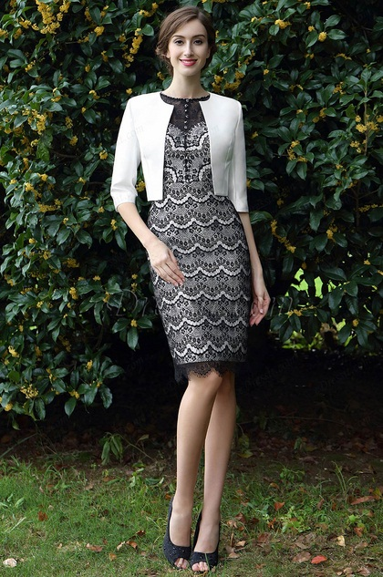 eDressit Black & White Two Pieces Mother of the Bride Dress