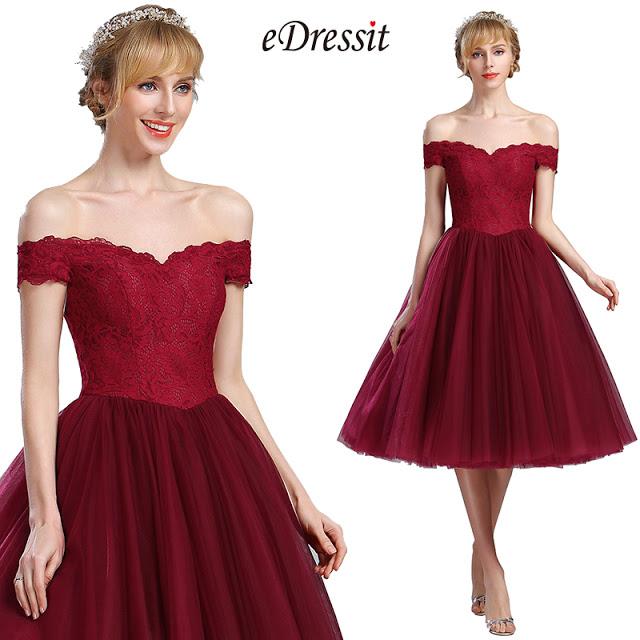 eDressit Off Shoulder Burgundy Lace Eveningl Party Dress