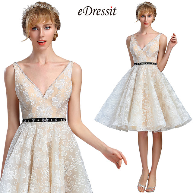 Ivory Plunging V Neck Lace Cocktail party Dress