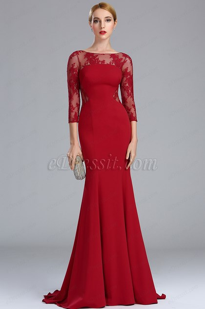 eDressit Deep Red Lace Formal Evening Dress