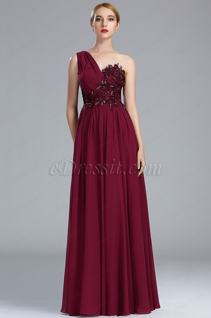eDressit Burgundy Lace Appliques Fancy Evening Gown