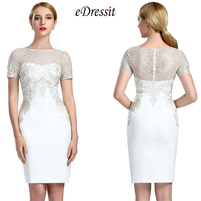 White Short Sleeves Lace Appliques Cocktail Dress