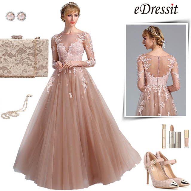 eDressit Elegant Blush Lace Appliques Princess Evening Dress (02174346)