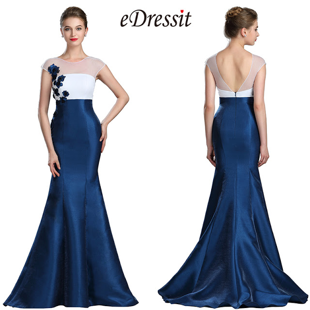 eDressit White & Blue Floral Mermaid Ladies Dress Ball Gown