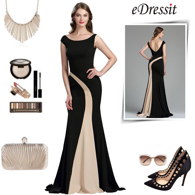 eDressit Elegant Black and Champagne Mermaid Occasion Dress