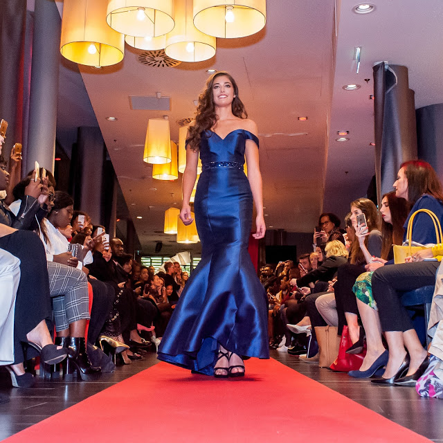 Elegant Navy Blue Off the shoulder Prom Evening Dress