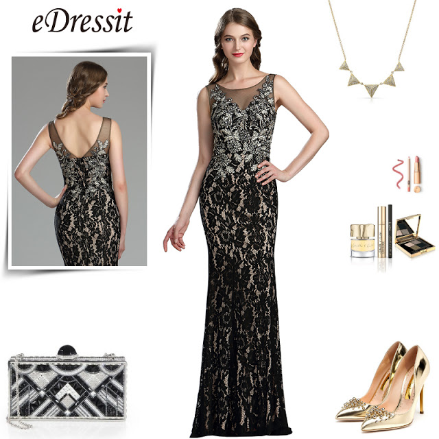 eDressit Classy Long Black Lace Prom Evening Gown