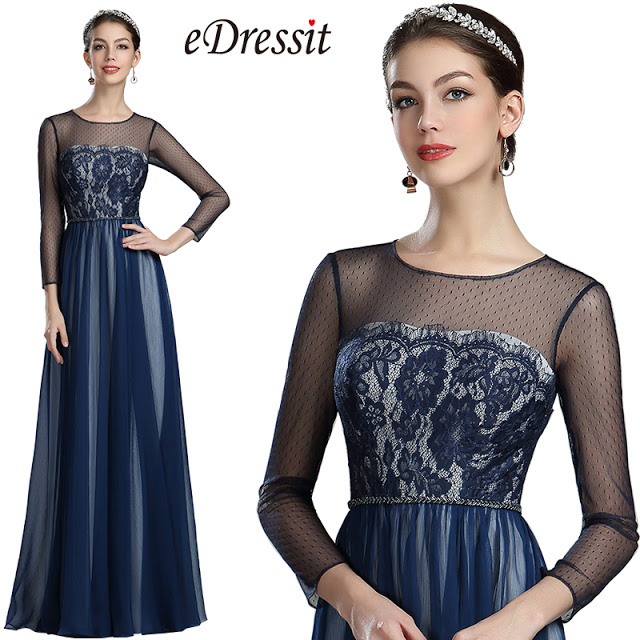 Navy Blue Lace Evening Dress with Sleeves