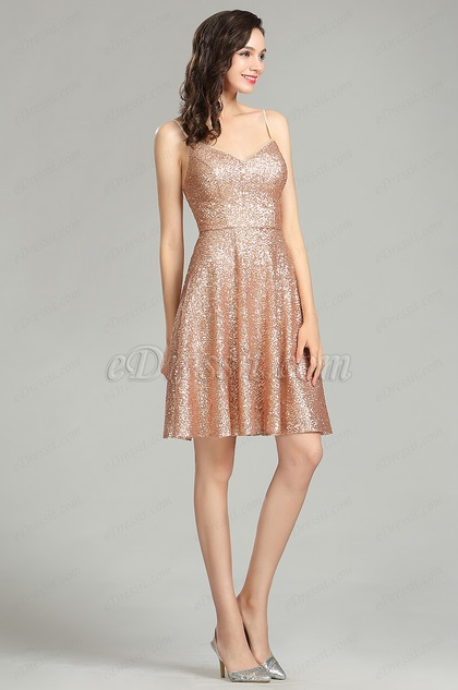 eDressit Sequin Gold Party Cocktail Evening Dress