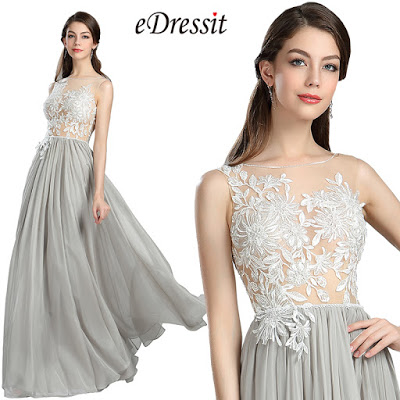 Grey floral A-line prom dress