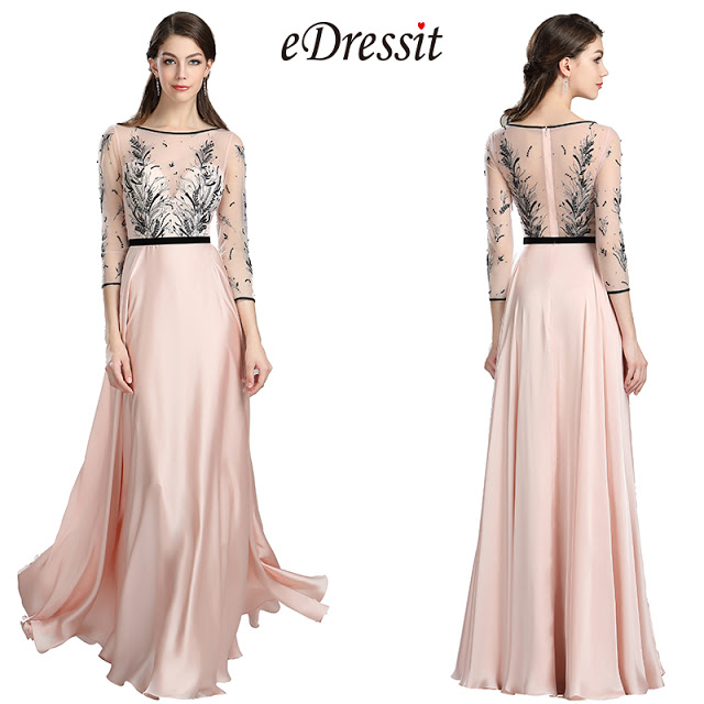 Pink & Black Embroidery Long Dress with Sleeves