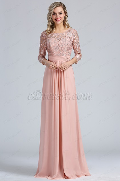 Blush A-line Overlace Prom Evening Dress