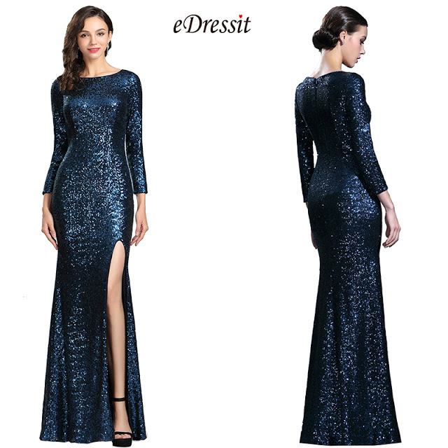 Sparkly Long Sleeves Sequin Night Dress Ball Gown