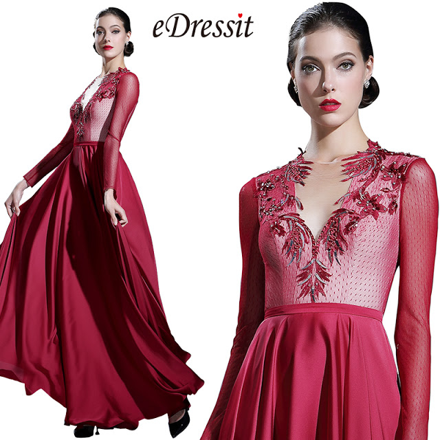 Long Sleeves Burgundy Formal Evening Gown