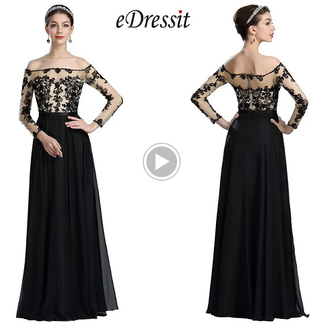 Black Lace Appliques Formal Evening Gown with Sleeves