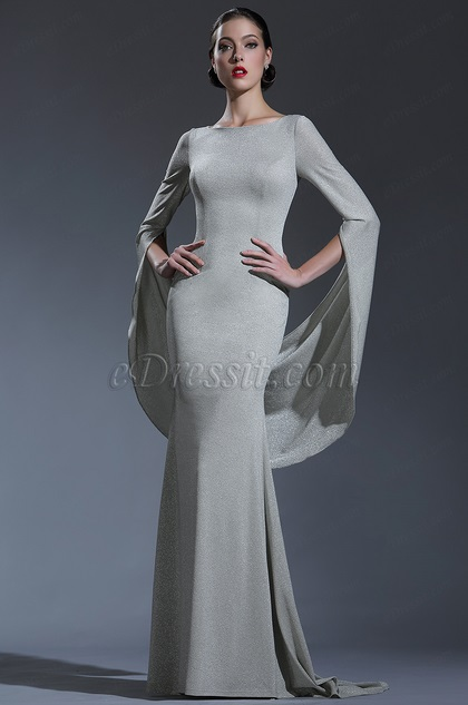 shiny grey couture occasion dressing gown