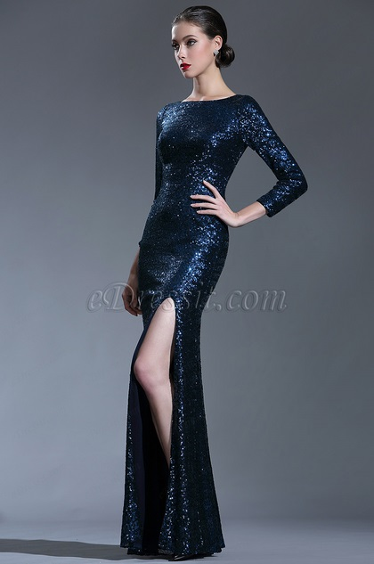 edressit sparkly long sleeves sequin night dress ball gown
