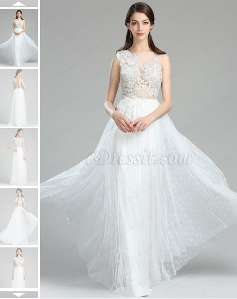 sweet white floral lace wedding dress
