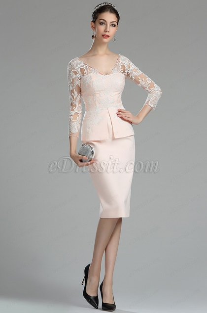 eDressit Pink and White Lace Mother of the Bride/Groom Dress (26180201)