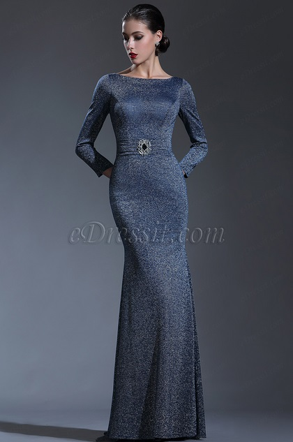 edressit long sleeves midnight blue forma evening gown