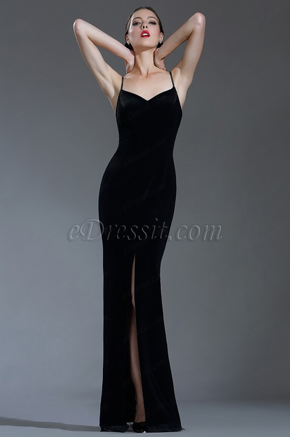 edressit sexy velvet spaghetti black tie evening dress