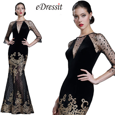 Black Sequin Lace Formal Evening Gown with Sleeves