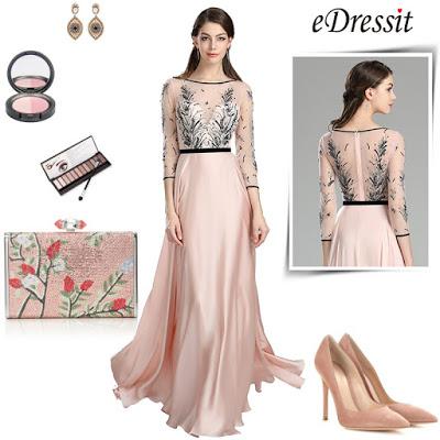 Pink long dress graduation dress homecoming dress