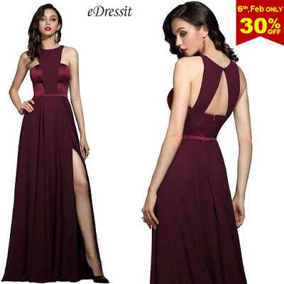 Elegant Burgundy Halter Red Carpet Chiffon Dress