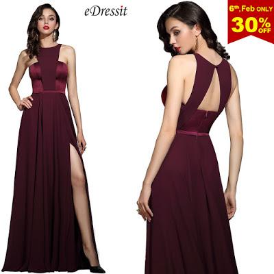 Elegant Burgundy Halter Red Carpet Chiffon Dress
