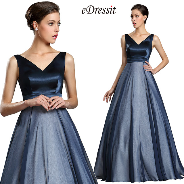 Dark Blue Floor Length Ball Gown Prom Dress