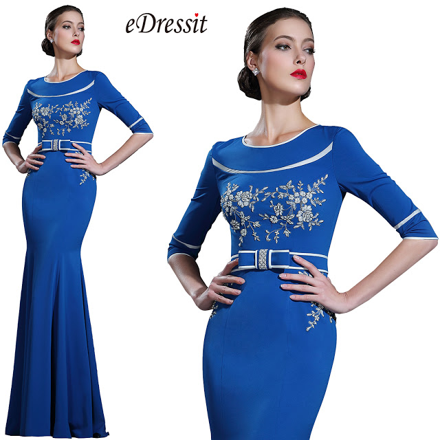 Blue Floral Lace Evening Dress with Sleeves