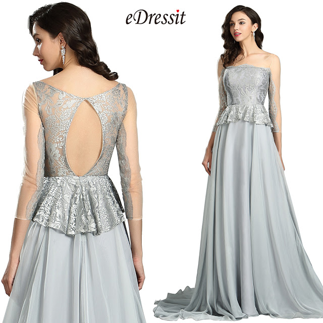 Elegant Grey Lace Prom Dress with Sleeves