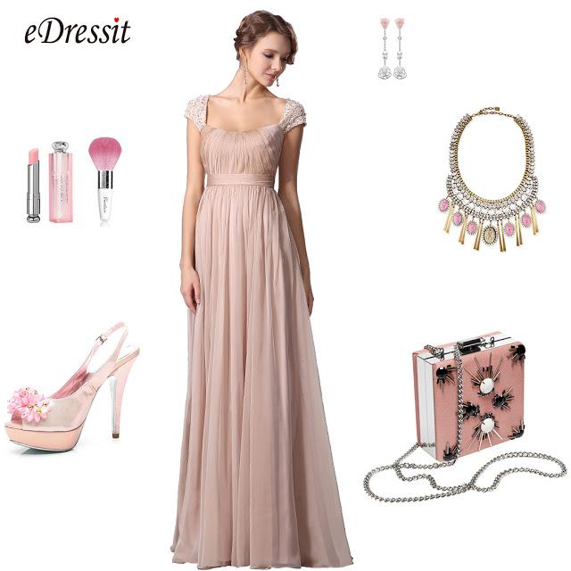A Line Evening Dress With Lace Cap Sleeves