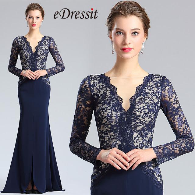 Blue V-cut Neckline Lace slit Prom Evening Dress