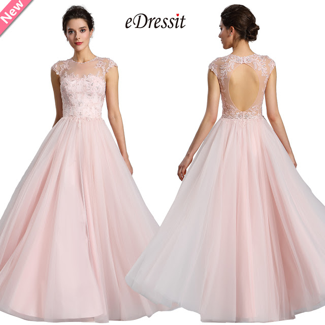 eDressit Illusion Neckline Beaded Tulle Prom Evening Dress