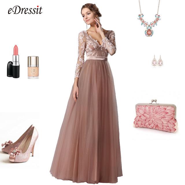 eDressit V Neck Long Sleeves Graduation Dress Prom Gown